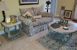 Fabulous Love Seat, showing two marble top metal base tables beside it and in front.