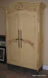 Painted Hutch/ Armoire, metal filigree base, you could use this as an entertainment cabinet or display piece.  This piece measures 80 x 48 x 18 1/2 inches.