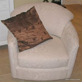Two Matching IVORY color Swivel Barrel style Armchairs,