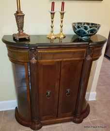 Entry Hall Cabinet, two glassed displays either side, shelves inside, marble top.  Measures 37 1/2 x 36 1/2 x 13 inches.