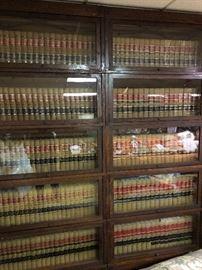 SEVEN ANTIQUE OAK LAWYERS 5 SECTION STACKABLE BOOKCASES
