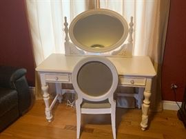 White Vanity with chair $299