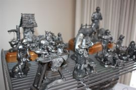 Huge collection of pewter figurines (signed 'Michael Anthony Ricker')