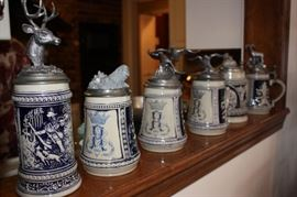 Steins with Michael Anthony Ricker pewter lids