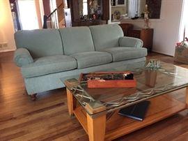 Ethan Allen sofa/ contemporary coffee table