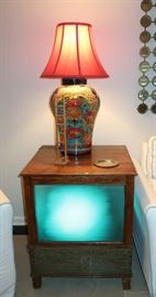 Lighted colored changing end tables/cabinets