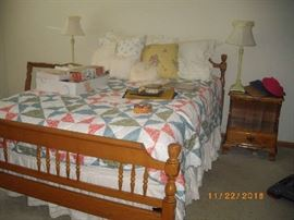 Mattress & box spring sold. Solid maple bed still available