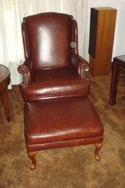 Emerson  leather Queen Anne chair by Ethan Allen and ottoman.