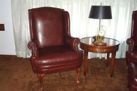 Emerson leather Queen Anne chair by Ethan Allen, drum lamp table and anniversary clock.