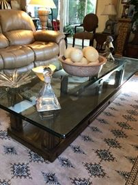 Super size Coffee Table.  Wood Base, Extra heavy Glass Top