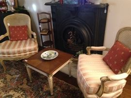 Matching vintage French Provincial cane back chairs