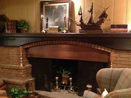 1800's framed art; sailing ship; very old books from Colonel  Wm. S.  Herndon's estate; solid brass andirons and candle holders
