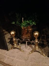 Solid brass andirons