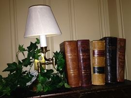 Small lamp; very old books from Colonel  William Smith Herndon's estate