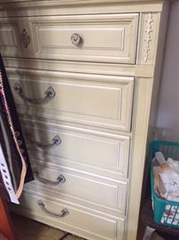 Vintage French Provincial bedroom set, including two twin beds, dressers, mirrors and side dresser. Priced to sell!