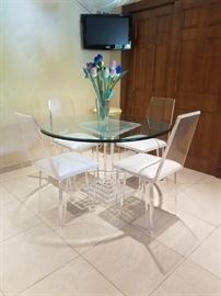 Lucite Column & Glass top table w/4 Lucite Chairs