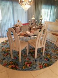 4 Off white Italian Lacquer Chairs W/Lucite Base & Glass Dining Table