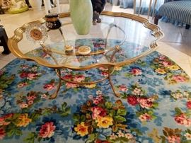Vintage Brass/Glass top Coffee Table W/Claw feet