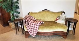 Another antique settee along with a composition antique doll and vintage crocheted coverlet. 2 antique stools great for side tables.