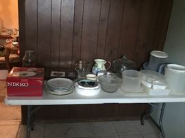 2 sets of Nikko Christmas Dishes, lots of glass serving pieces