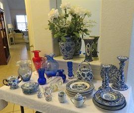 Blue & white china, glass