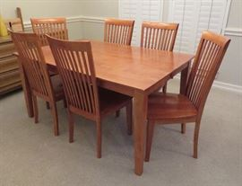 Dining table with 2 leaves, six (6) chairs