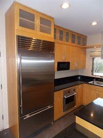 sub-zero stainless steel refrigerator mictowave oven