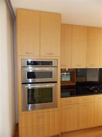 maple kitchen cabinets wall oven Microwave