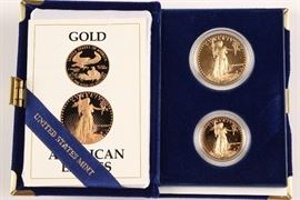 1987 American Eagle $50 (1oz) Gold Proof Coin And $20 (1/2oz)