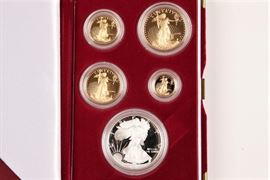 1995 U.S. Mint American Eagle Gold Four Coin Proof Set With Silver Eagle