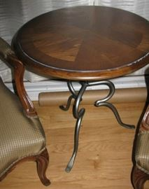 Universal Furniture iron base wood top table                              BUY IT NOW $ 75.00