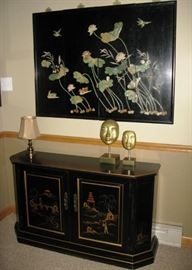 4 panel jade inlaid wall hanging  BUY IT NOW $ 175.00  Inlaid Asian cabinet  BUY IT NOW $ 325.00