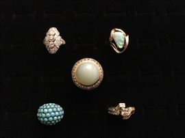 Art Deco platinum Diamond ring, 18K gold Diamond and Opal ring, 18K gold Diamond bypass ring, 9K gold and silver Turquoise ring, 18K gold Diamond + Garnet + Aquamarine + Chalcedony ring
