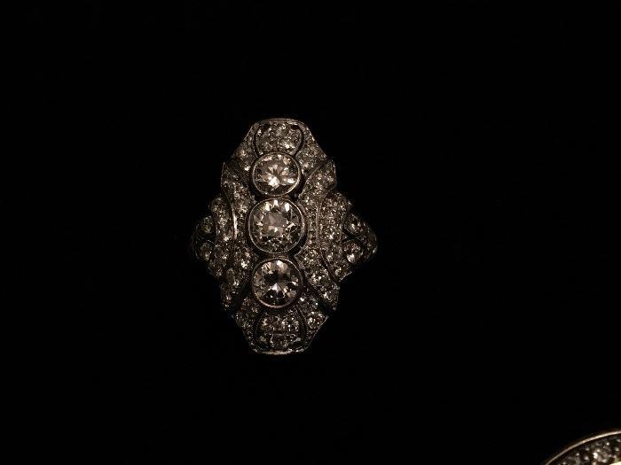Art Deco Platinum Diamond ring (size 4) - 2 carats total Diamond weight