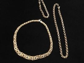 14K gold necklace, 14K white and yellow gold necklace with matching 14K bracelet