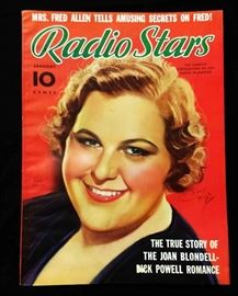 "Vintage ""Radio Stars"" Magazine with Cover Art by Earl Christy- January 1937"