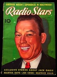 "Vintage ""Radio Stars"" Magazine with Cover Art by Earl Christy- April 1937"