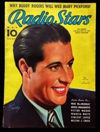 "Vintage ""Radio Stars"" Magazine with Cover Art by Earl Christy- May 1937"