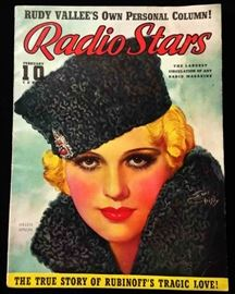 "Vintage ""Radio Stars"" Magazine with Cover Art by Earl Christy- February 1938"