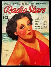 "Vintage ""Radio Stars"" Magazine with Cover Art by Earl Christy- July 1937"