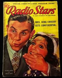 "Vintage ""Radio Stars"" Magazine with Cover Art by Earl Christy- August 1937"