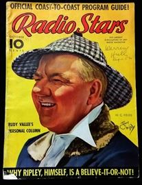 "Vintage ""Radio Stars"" Magazine with Cover Art by Earl Christy- October 1937"
