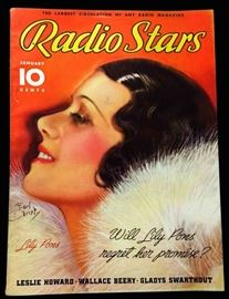 "Vintage ""Radio Stars"" Magazine with Cover Art by Earl Christy- January 1936"