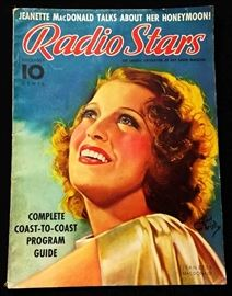 "Vintage ""Radio Stars"" Magazine with Cover Art by Earl Christy- December 1937"