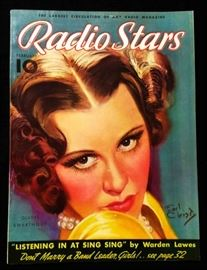 "Vintage ""Radio Stars"" Magazine with Cover Art by Earl Christy- February 1936"