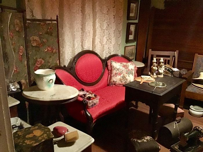 Victorian Settee, Marble top Tables, Sewing Machine