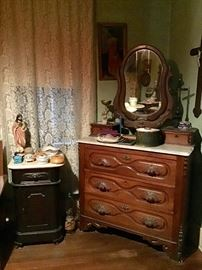 Marble top Dresser and Commode or night stand, collection of hair receivers, Religious Statue