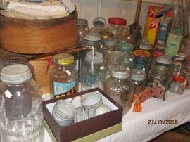 VARIOUS JARS, COFFEE JARS, ETC/  TIN LIDS WITH PORCELAIN LINERS