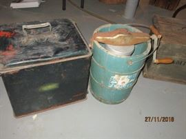 OLD ICE CREAM MAKER AND COOLER