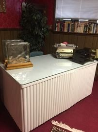 "Huge vintage desk, and the front opens for a hidden ""bar"" area"